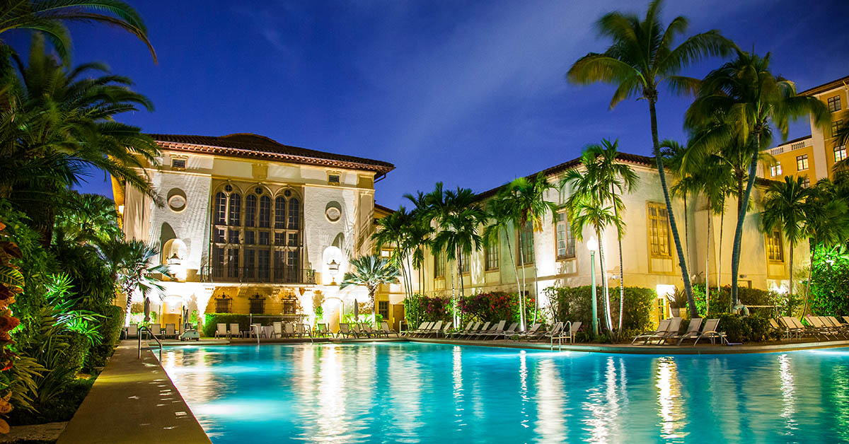 A view of the Biltmore pool at night time