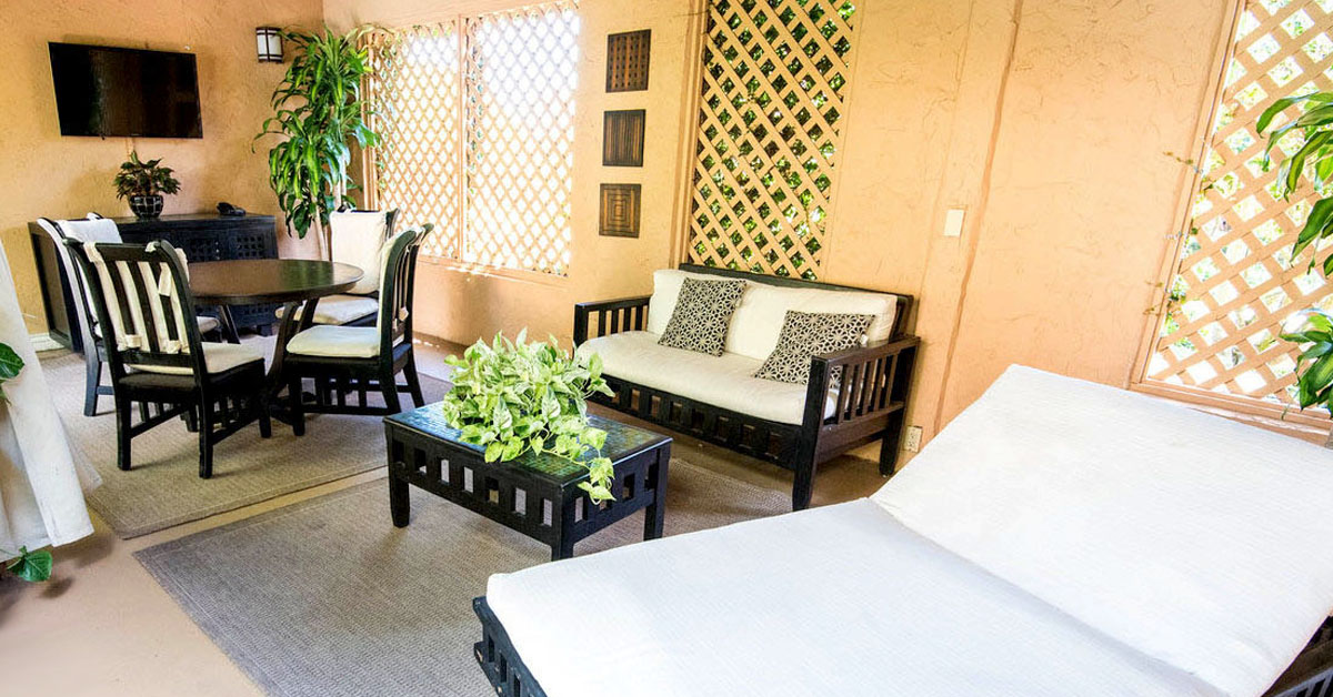 Biltmore pool cabanas are spacious and private