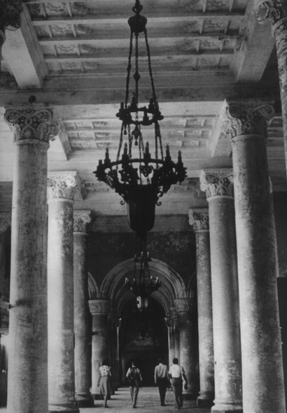 Black and white photo of lobby